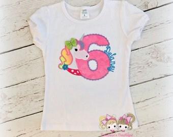 Rainbow Unicorn Birthday Applique Shirt- Custom Monogrammed Shirt- Birthday Shirt