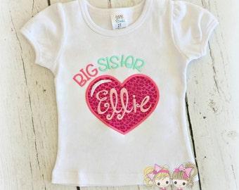 Big Sister Leopard heart shirt- Custom Sibling shirt- Animal Print- Custom embroidery