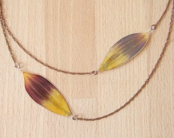Real Flower Jewelry! Brown & Yellow Sunflower Pressed Flower Petal Necklace