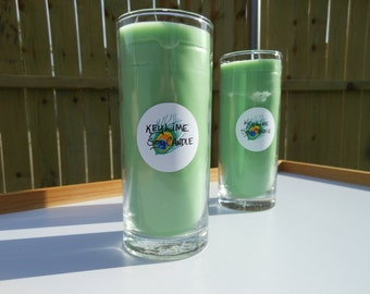 Key Lime Soy Tall Clear Glass Hand Poured Candles