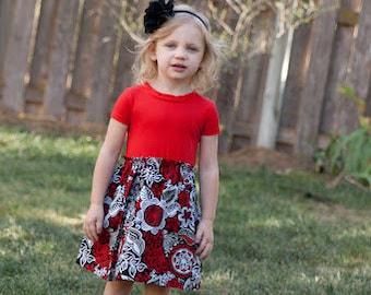 Knit-Woven Pattern, Long Sleeve Pattern, Easy Dress Pattern, Girl's Dress Pattern