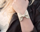 Bow Bracelet, Ivory Wide Cuff Faux Leather, Cream Bowtie, Tie Scarf Womens, Wrist Bracelet, Tattoo Cover Up Wrist Unique Gift Bridesmaid