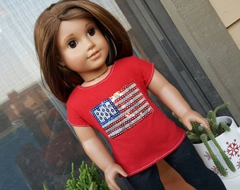 Red Sequined Flag Tee for American Girl Dolls