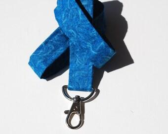 Keychain lanyard. Blue  lanyard. ID badge lanyard. Lobster Claw Clasp