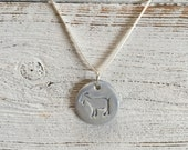 Ceramic Goat Pendant, Periwinkle, Farm Animals, Unique Gift, Goat Jewelry, Gift for Her, Country Girl, Ceramics, Farm Girl, Ceramic Jewelry