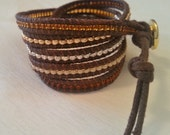 5 x wrap bracelet, mixed colors brown wrap bracelet, seed bead bracelet