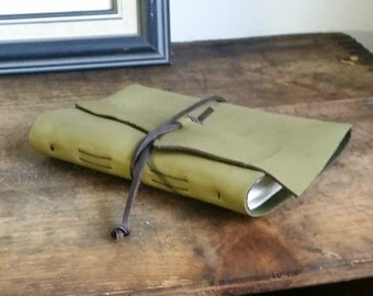 "Slim Leather Journal - Green Journal 4.5"" x 6"" by The Orange Windmill 1637"