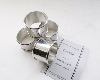 Kirk Stieff Pewter Napkin Rings, Modern and Colonial Set of Four Napkin Rings, French Country Decor