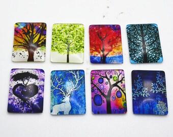 10pcs Mixed 18x25mm Rectangle Handmade Photo Glass Cabochon - Tree