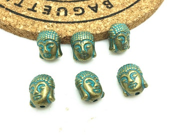15pcs Antique Blue Bronze Rustic Patina Buddha Charm Pendant 9x12mm H403-2