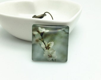 4pcs 25mm Square Photo Glass Cabochon Cover Domes - Flower