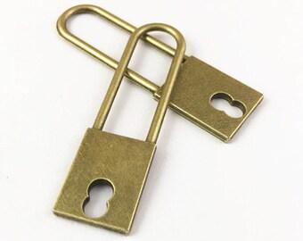 15pcs Antique Bronze Long Neck Lock Charm Pendants 14x50mm