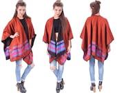 Blanket CAPE Shawl 90s MEXICAN Hippie Light Cape Oversized Wrap Woven Tribal Red Black Purple Wool Acrylic Vintage Bohemian Medium Large XL