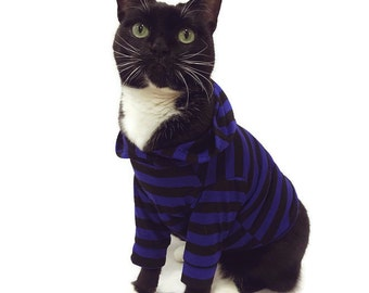 Royal Blue Striped Cat Hoodie-Cat Hoodies-Cat Clothes-Cat Sweater-Cat Clothing-Cat Shirt-Cat Shirts-Cat Apparel-Hoodies for Cats-Sphynx