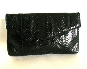 Vintage Black Snakeskin Envelope Clutch