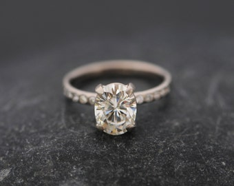Forever Brilliant Moissanite Ring - 18K White Gold Moissanite Ring - Moissanite Engagement Ring Conflict Free - Made to Order  Free Shipping
