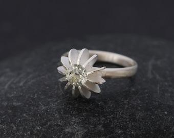 Green Amethyst Ring  -  Green Gemstone Ring - Green Amethyst Sea Urchin Ring - Green Amethyst Engagement Ring - Made to Order -FREE SHIPPING