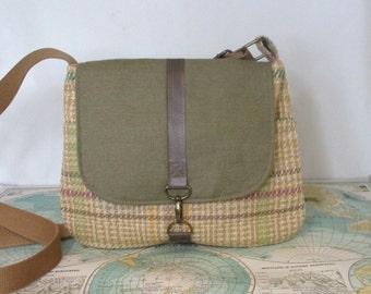Nebraska -- Crossbody messenger bag // Plaid // Adjustable strap // Travel purse // Preppy // Vegan // Green // Ready to ship