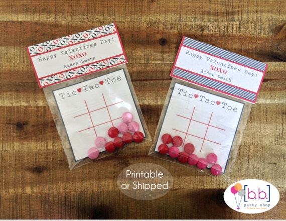 Valentine's Day Card- Tic Tac Toe- Treat Bag Topper- Navy & Red- Printable or Shipped
