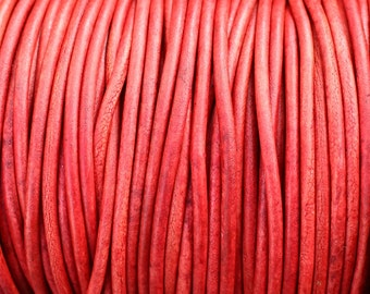 10 Yards 3mm Red Leather Cord - Red Distressed Leather Cord Round Natural Dye