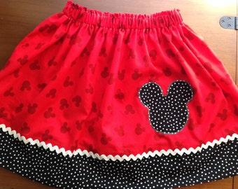 Mickey Mouse Girls skirt / Disney Parks skirt/ Mickey Ears Skirt/ Mickey Mouse Birthday/ Disney Birthday skirt/ Disney Vacation/Disney Skirt