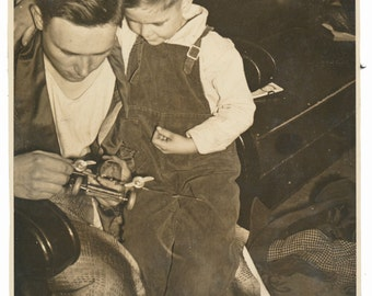 Pressed Steel Airplane Toy Father Son Social Realism Photography snapshot found photos vernacular photo