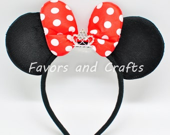 1 Minnie Mouse TIARA Headband, RED Bows Minnie Ears, Mickey Ears, Minnie Mouse Ears, Mickey Mouse Ears, Polka Dots Favors Birthday Party