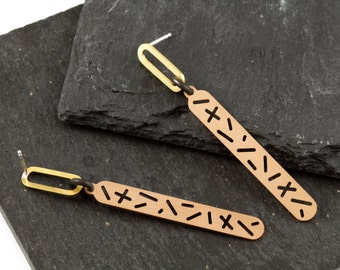 Random Lines Long Pill Earrings in Silver, Brass and Bronze by Camillette