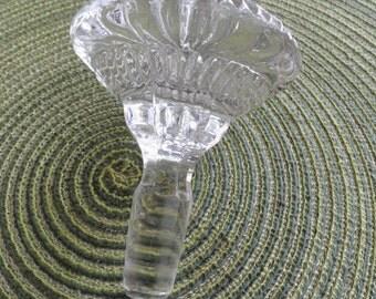 B402)  Vintage Large  Solid Clear Glass Sun Burst Bottle Stopper