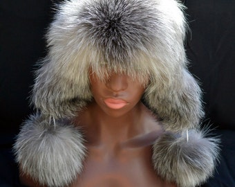 Russian Hat Poms Zimushka WHITE Leather Blue Frost Long Haired FOX Rare Fur Women Arctic Store®