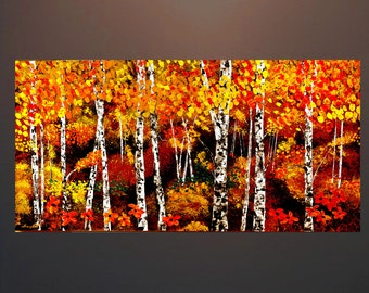 """Landscape Birch Forest Giclee Print on canvas this is a print from my Painting  18""""x36"""