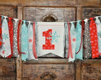 Red and Ice blue Winter ONEderland Wonderland first 1st birthday fabric highchair rag banner, snowflake, party decor ONE 1 cake smash photo