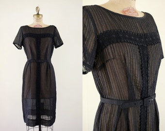 Vintage 1960s Midnight Dress / 60s sheer black dress lace detail belt / Medium M Small S