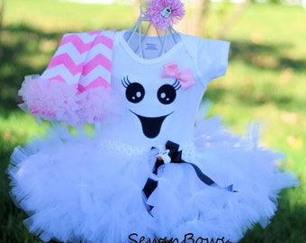 Ghost tutu with- Baby Ghost tutu- Ghost Costume-Girls Ghost tutu- Girls Ghost dress- Halloween Ghost Costume- Halloween Ghost tutu- ghost
