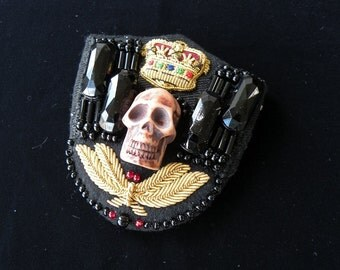 Skull, Crown and French jet bead pin, brooch - dramatic statement - real costume jewellery