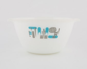 Fire King Mixing Bowl - Blue Heaven - Blue and Grey - Mid Century - Very Collectible