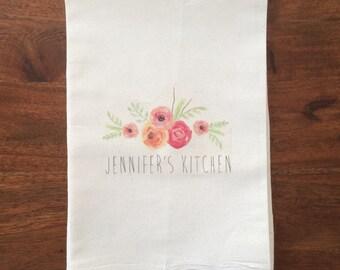 "Personalized ""Your Kitchen"" Flour Sack Tea Towel"