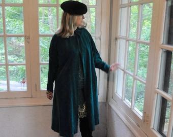 Dark Green Velvet Swing Coat/Vintage 1950s/Raglan Sleeve Wide Collar/Size Medium