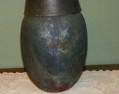 Raku Pottery Stoneware VASE GINGER JAR with lid Matte firey colors