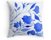 Blue and White Floral, Original Watercolour Art, Throw Pillow Case w/optional insert, Home Decor, Royal Blue,  White, Unique Gift