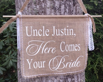 Here Comes The Bride, Burlap Banner, Personalized Burlap Banner, Burlap Wedding, Rustic Wedding, Rustic Burlap Banner