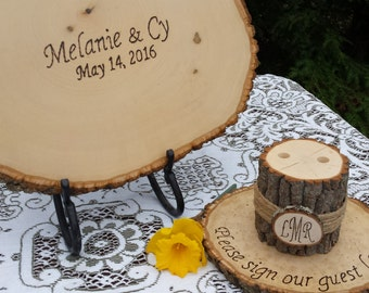 Log Guest Book, Log Pen Holder on Stand, Rustic Wedding, Rustic Guest Book, Rustic Pen Holder