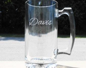 Personalized Beer Mug: Groomsmen Beer Mugs, Engraved Beer Mugs, Etched Beer Mugs, Custom Beer Mugs, Personalized Beer Stein