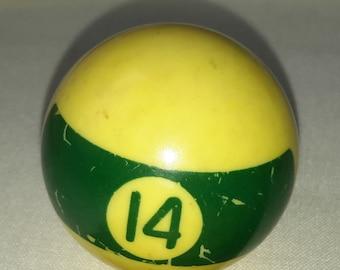 "One vintage miniature 1 1/2"" billiard green striped no. 14 ball"