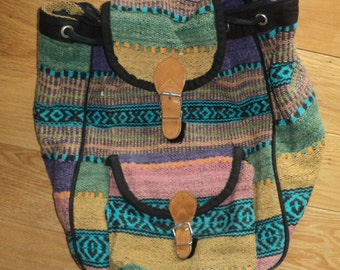 Vintage Woven Backpack in many colors, Made in India in Vintage Condition, A Slouch Pouch Style Purse Back pack with drawstring opening