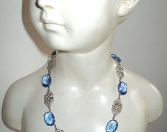 SOMETHING BLUE, Retro Art Deco Style Choker Necklace with white metal filigree design and  blue crystal glass stones in Very Good Condition
