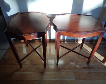 2 Vintage Solid Mahogany End Tables in their original dark red stained finish in Vintage Condition which can up cycled or left as is