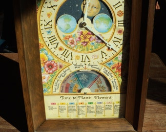 Vintage Fairfield Wooden Wall Clock with wonderfully illustrated Planting Seasons design in Working Condition, Ready to Hang and plug in