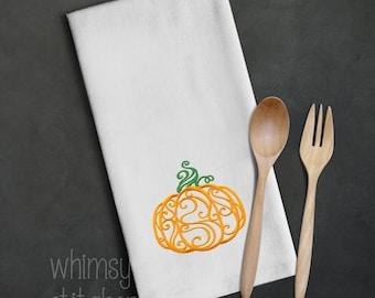 Machine embroidered kitchen towel, pumpkin harvest theme, huck towel, 100% cotton