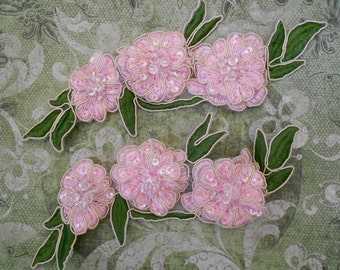 Pink Silk Thread Floral Appliques